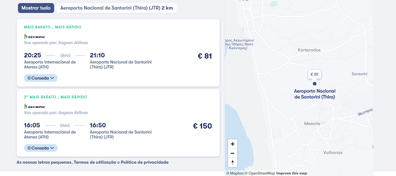 Trajeto mais rápido e barato - Atenas a Santorini