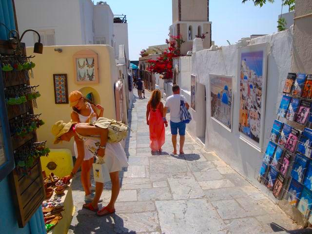 Compras em Fira, em Santorini