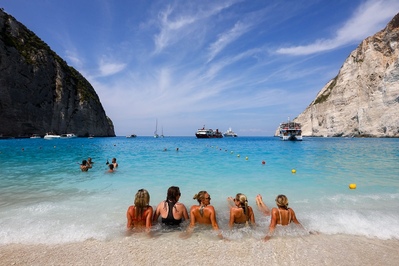 Praia na Ilha de Zaquintos