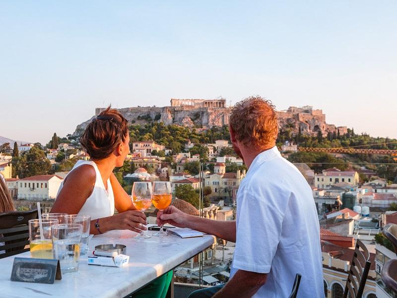 Jantar romântico em Atenas