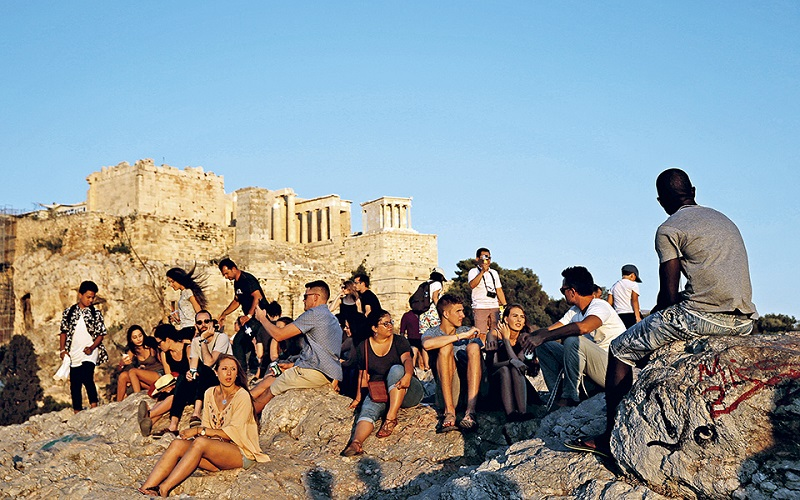 Sítio arqueológico de Atenas no verão
