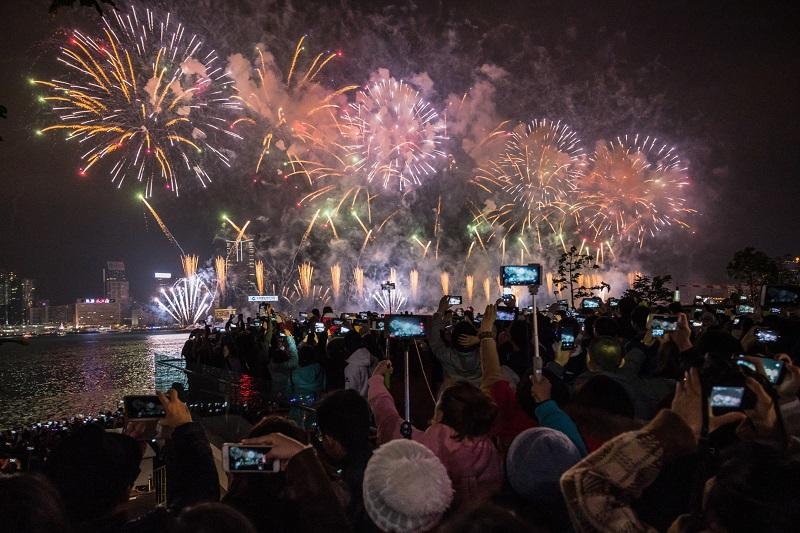 Queima de fogos de Ano-novo em Atenas
