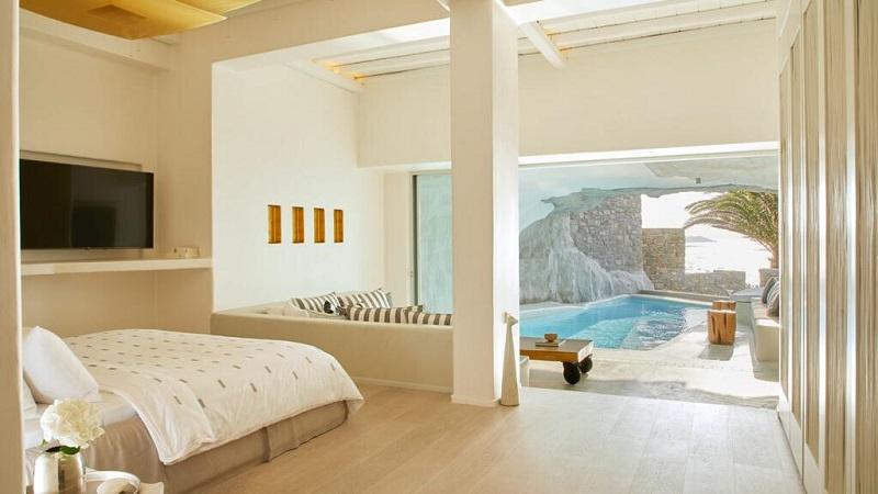 Quarto do Hotel Cavo Tagoo Mykonos