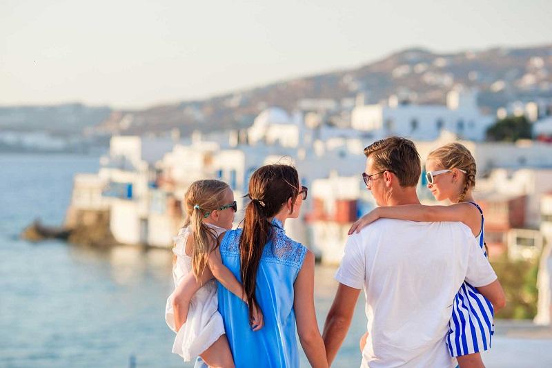Família em Mykonos