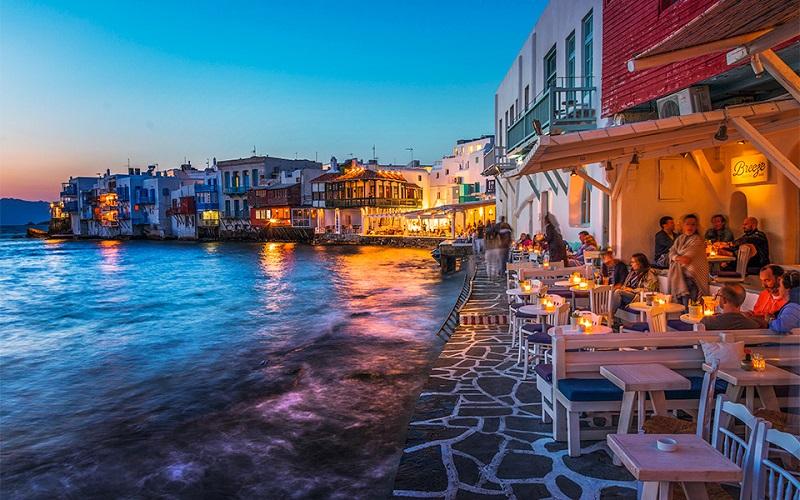 Bairro de Little Venice em Mykonos