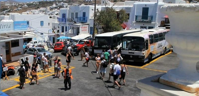 Como andar de ônibus em Mykonos