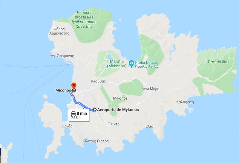 Rota do aeroporto até o centro de Mykonos