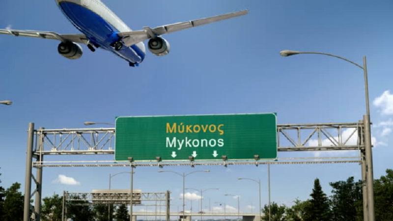 Entrada do aeroporto de Mykonos