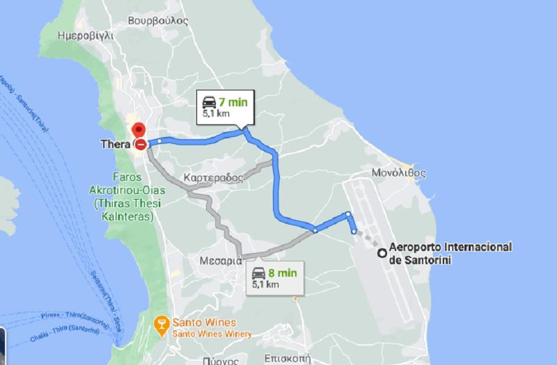 Trajeto do aeroporto de Santorini até Fira de carro
