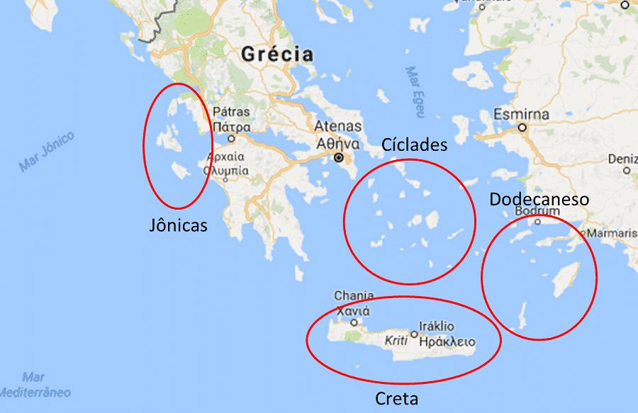 Divisão de ilhas gregas