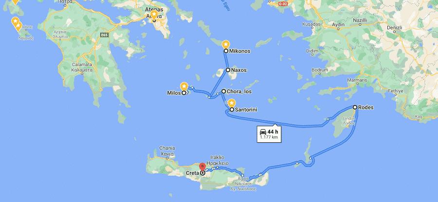 Roteiro mais longo pelas ilhas da Grécia