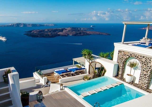 Hotéis no centro turístico de Santorini