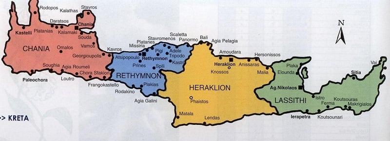 Mapa de cidades e regiões em Creta
