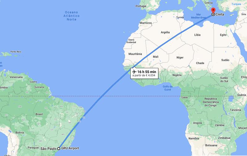 Mapa da viagem de avião de São Paulo para Creta