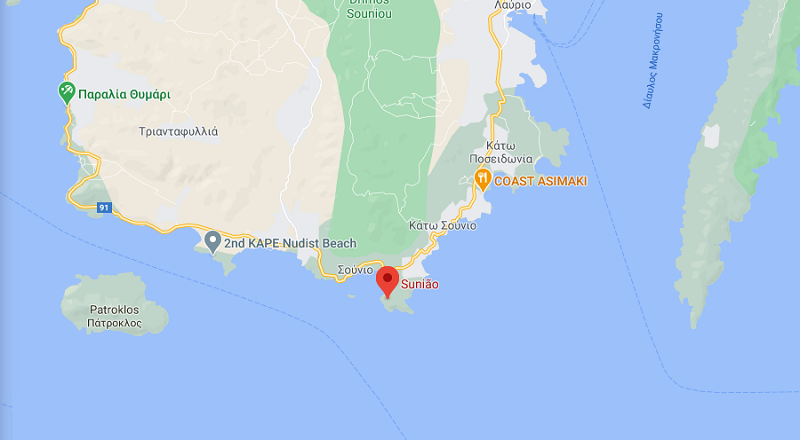 Cabo de Sounion no mapa da Grécia