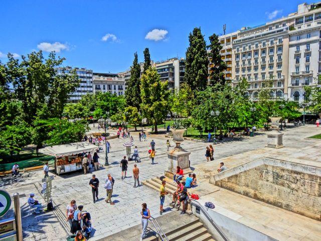Movimentação na praça Syntagma em Atenas